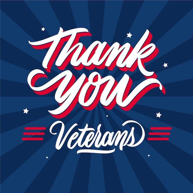 Obrigado, veteranos, design de letras Vetor grátis