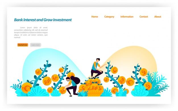 Obter melhor taxa de juros bancários e crescer o investimento financeiro de várias moedas dólar, euro, rupia. modelo de página da página de destino Vetor Premium