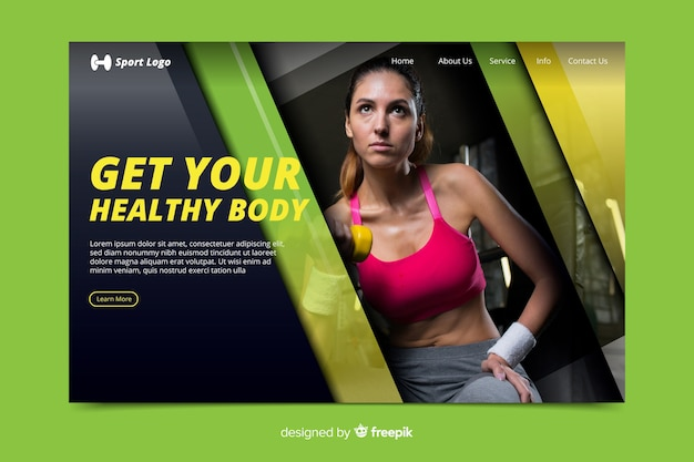 Obter página de destino de promoção de academia saudável Vetor grátis