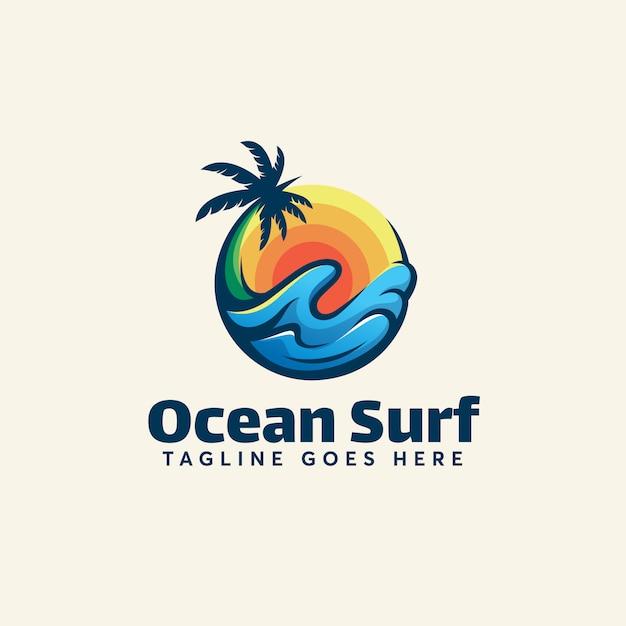 Ocean surf logo template verão moderno Vetor Premium