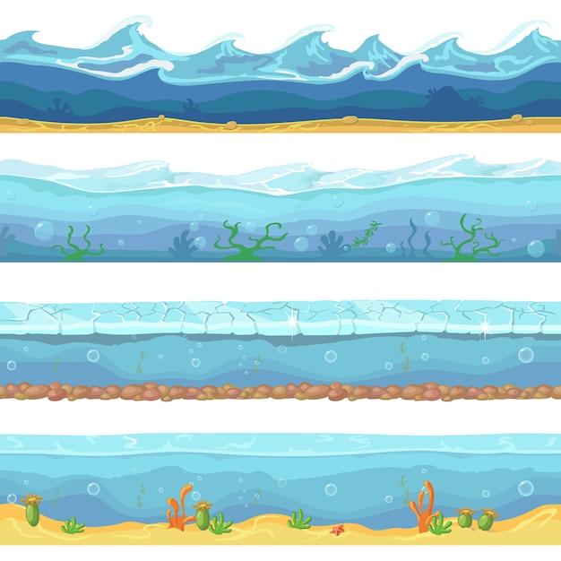 Oceano de ondas de água, mar sem costura Vetor Premium