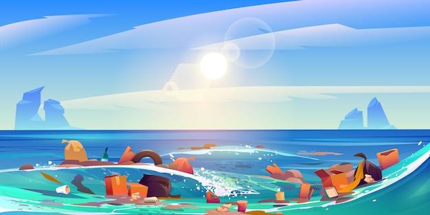 Oceano de poluição por lixo plástico, lixo na água Vetor grátis
