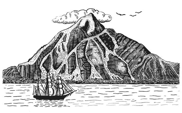 Oceano ou mar com navio, velas ao lado do vulcão ou montanha, pirata gravada de ilustração de paisagem de mão desenhada Vetor Premium