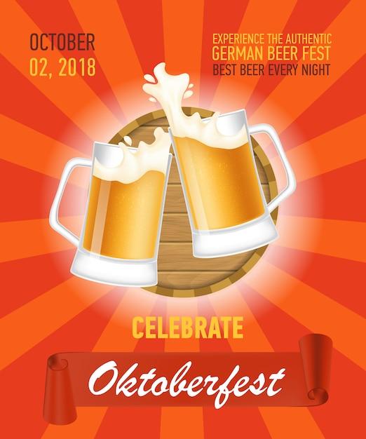 Octoberfest, design de cartaz de cerveja autêntica Vetor grátis