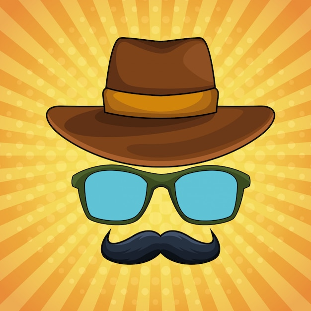 Óculos de chapéu masculino vintage pop art e bigode dos desenhos animados Vetor Premium
