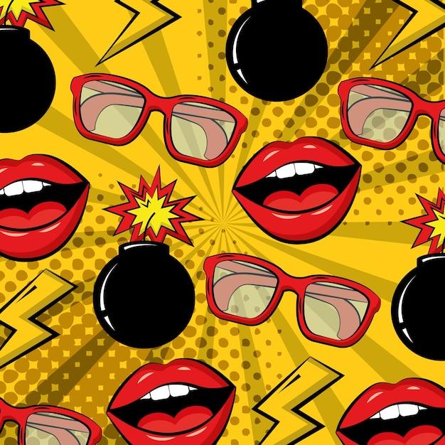 Óculos de quadrinhos de bomba de pop art lábios fundo Vetor Premium