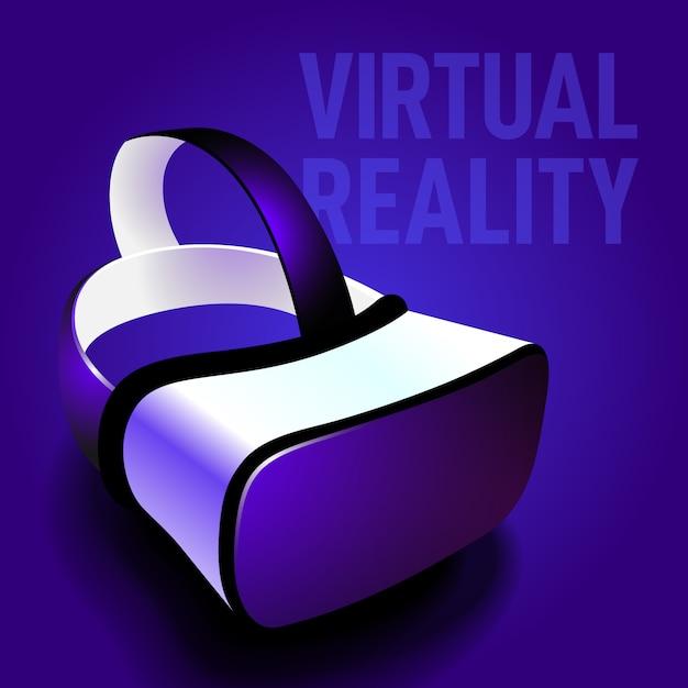 Óculos de realidade virtual fone de ouvido realista Vetor Premium