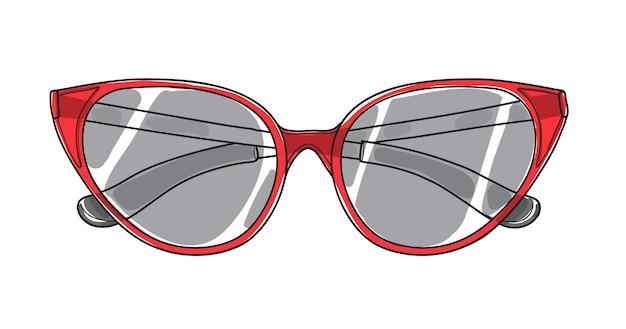 Óculos de sol de olho de gato mão desenhada arte vector Vetor Premium