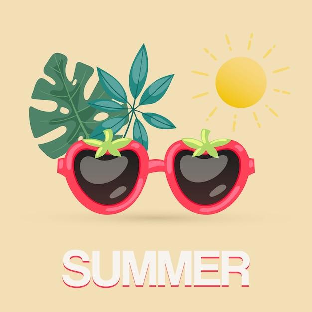 Óculos de sol exóticos do verão com folhas tropicais e ilustração do sol. verão tropical para cartaz de festa de praia, blog de viagens, óculos de sol em forma de bagas. Vetor Premium