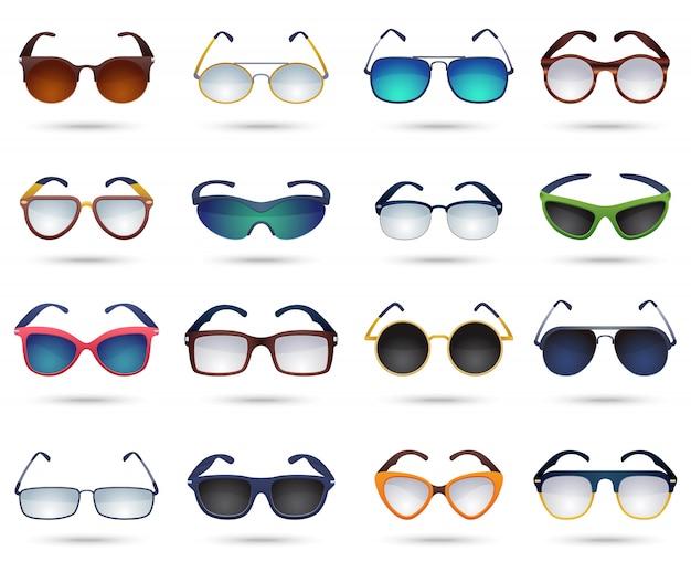 Óculos de sol moda reflexo espelho conjunto de ícones Vetor grátis