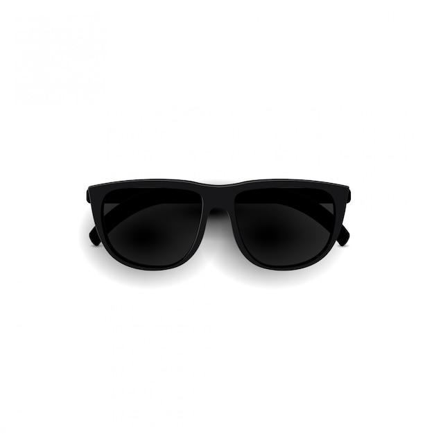 Óculos de sol pretos, vista superior. óculos de sol elegantes óculos 3d realistas isolados em um fundo branco Vetor Premium