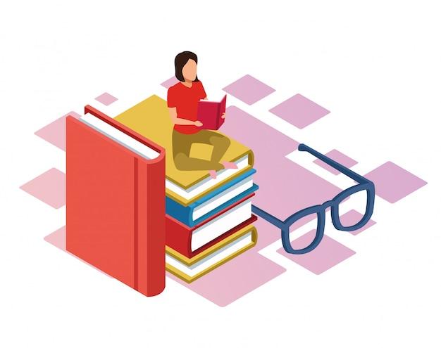 Óculos e mulher lendo um livro sentado na pilha de livros sobre fundo branco, colorido isométrico Vetor Premium