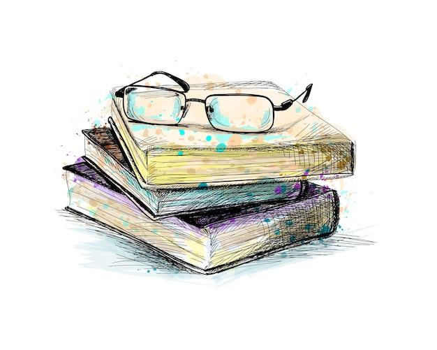 Óculos no topo da pilha de livros com um toque de aquarela, esboço desenhado à mão. ilustração de tintas Vetor Premium