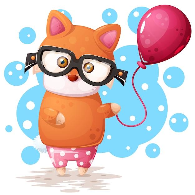 Óculos raposa com balão rosa Vetor Premium