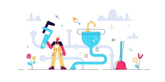 Ocupação de encanador. conceito de pessoas de reparo de torneira plana minúscula. serviços de construção civil com manutenção de tubulação de água e correção de vazamentos. trabalho de mecânico de pia sanitária de casa abstrata. Vetor Premium