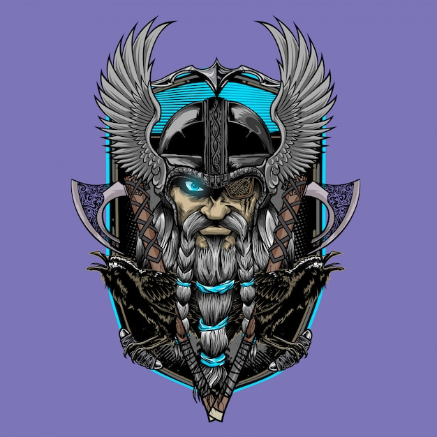 Odin god og asgard Vetor Premium