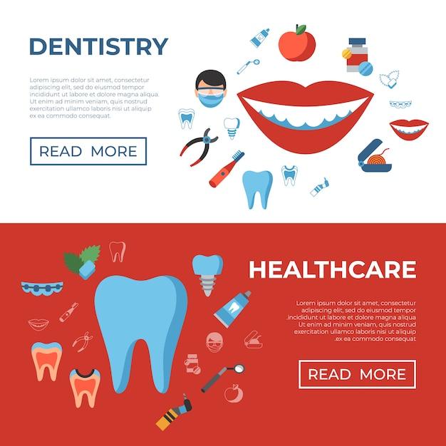 Odontologia e ícones de saúde Vetor Premium