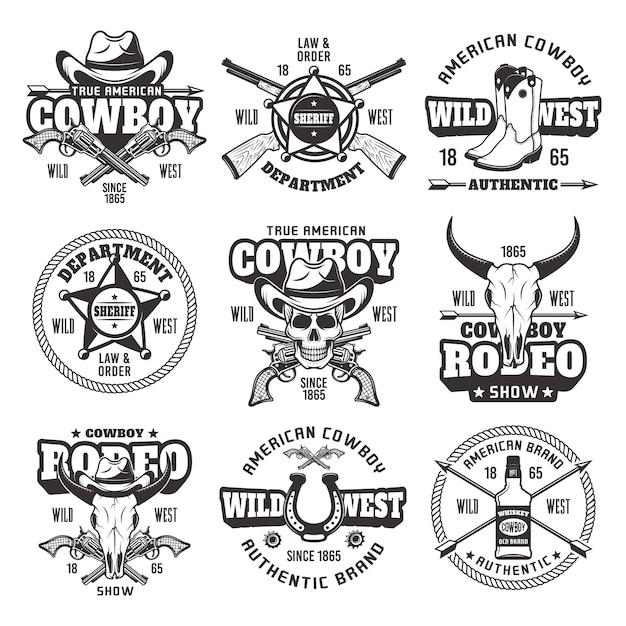 Oeste selvagem, departamento do xerife, show de rodeio cowboy conjunto de emblemas vintage vetoriais Vetor Premium