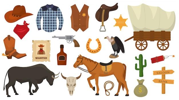Oeste selvagem vetor cowboy ou xerife ocidental assina chapéu ou ferradura no deserto de animais selvagens com caráter de cavalo de ilustração cacto descontroladamente para conjunto de rodeio isolado no branco Vetor Premium