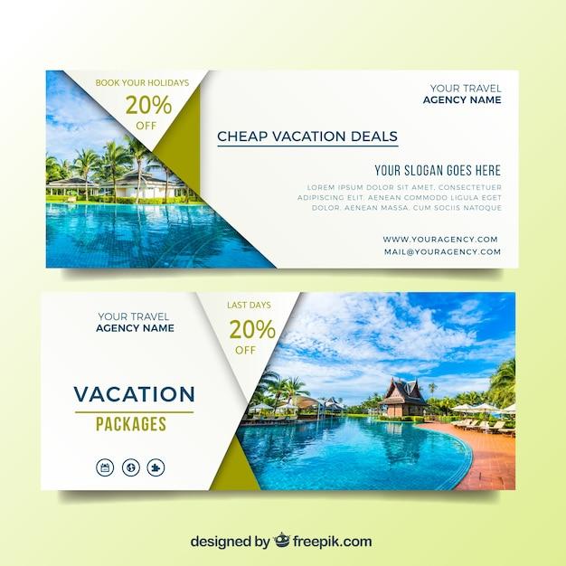 Oferecer banners para suas férias de verão Vetor grátis