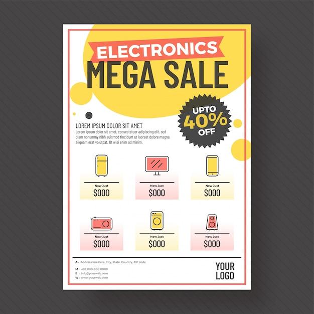 Oferta de 40% do modelo ou folheto eletrônico mega sale. Vetor Premium