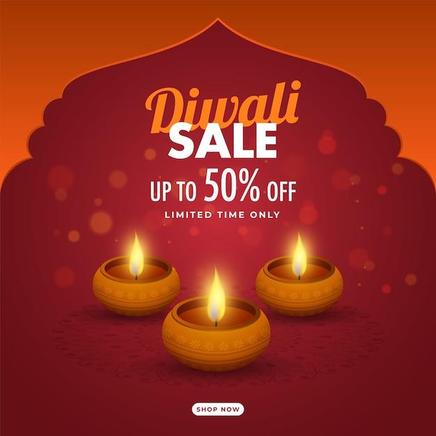 Oferta de desconto com lâmpadas de óleo aceso (diya) em fundo laranja e vermelho bokeh Vetor Premium