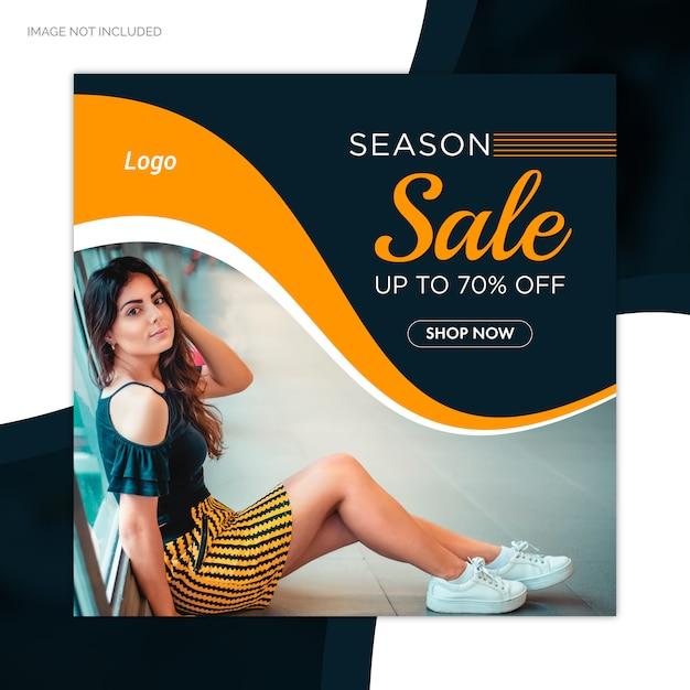 Oferta de venda de temporada especial post de mídia social modelo de banner da web Vetor Premium