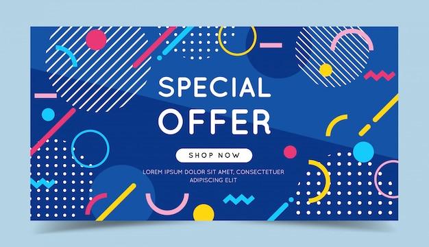 Oferta especial banner colorido com elementos geométricos abstratos na moda e fundo brilhante. Vetor Premium