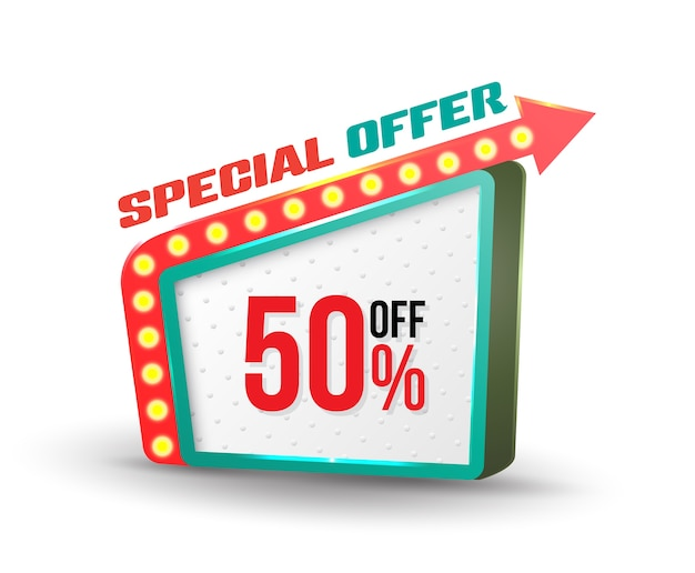 Oferta especial banner estilo retro com seta Vetor Premium