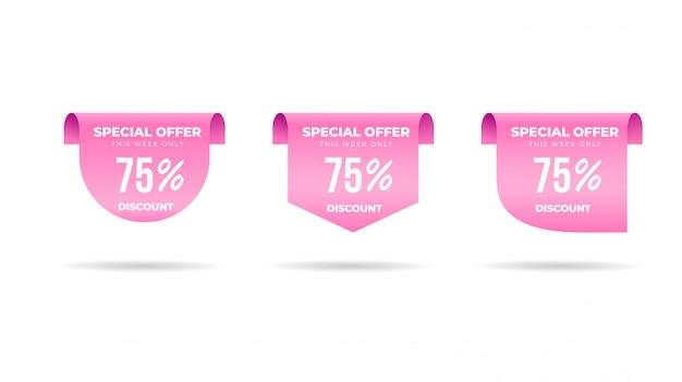 Oferta especial com desconto na coleção de etiquetas de preço Vetor Premium