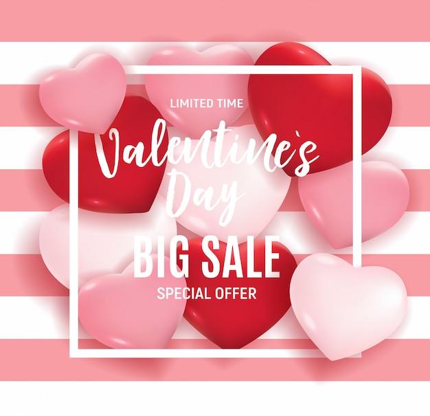 Oferta especial de banner de grande venda do dia dos namorados Vetor Premium