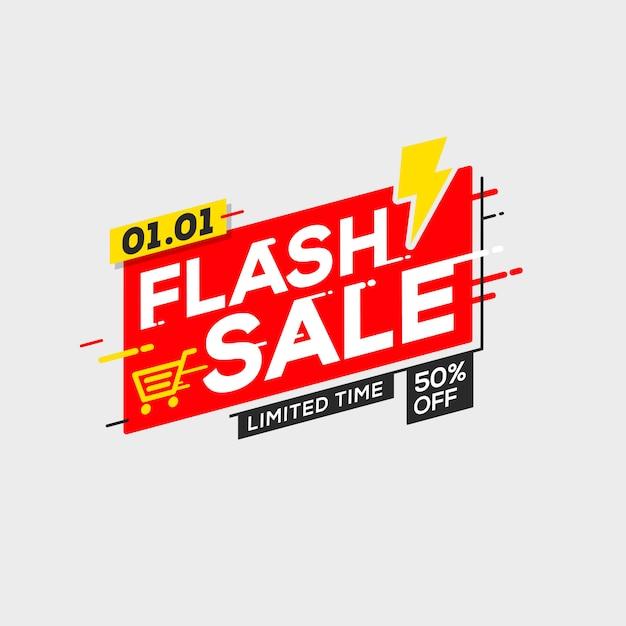 Oferta especial de modelo de banner de venda em flash com trovão Vetor Premium