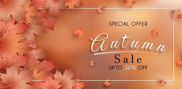 Oferta especial de outono. e banner de vendas design. com folhas de outono sazonais coloridas. Vetor Premium
