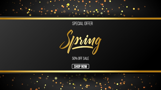 Oferta especial de venda de primavera de fundo Vetor Premium