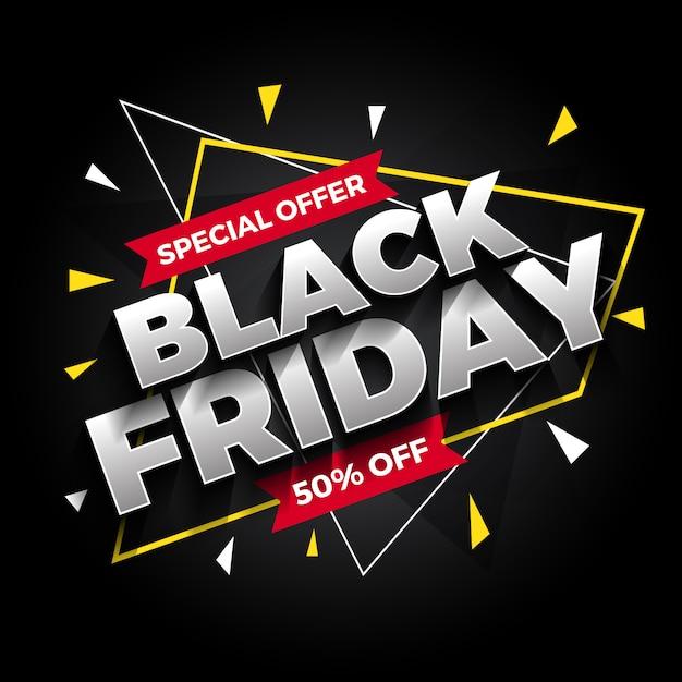 Oferta especial preto banner de venda sexta-feira Vetor Premium