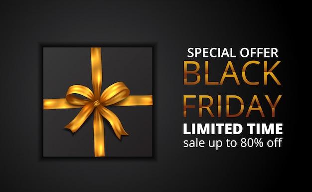 Oferta limitada de venda sexta-feira negra com ilustração de presente com fita dourada Vetor Premium