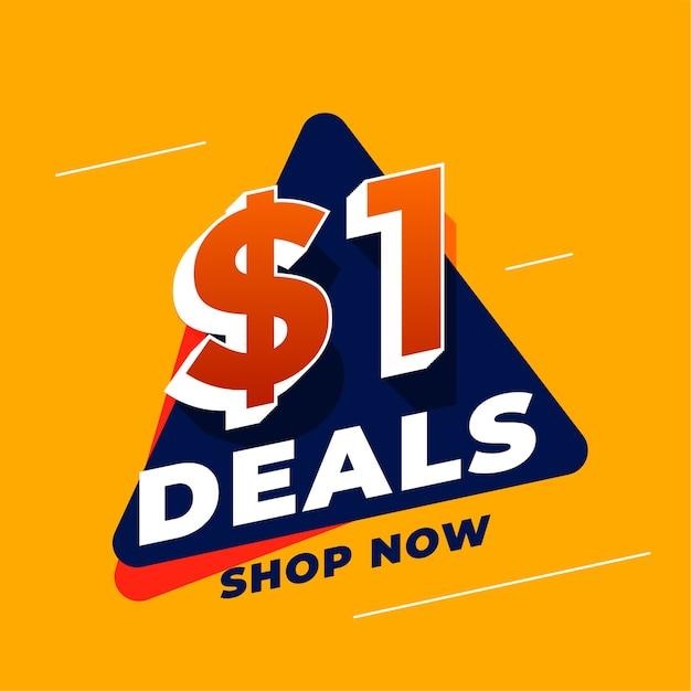 Ofertas de dólar um e banner promocional de venda Vetor grátis