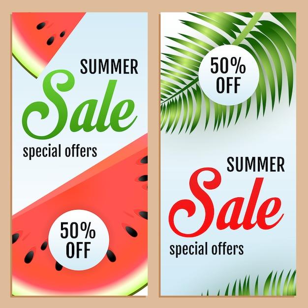 Ofertas de venda de verão especial conjunto de letras, melancia e folhas Vetor grátis