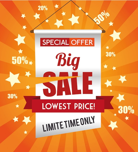 Ofertas especiais de compras Vetor Premium