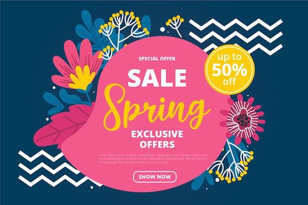 Ofertas especiais de venda de primavera de mão desenhada Vetor grátis