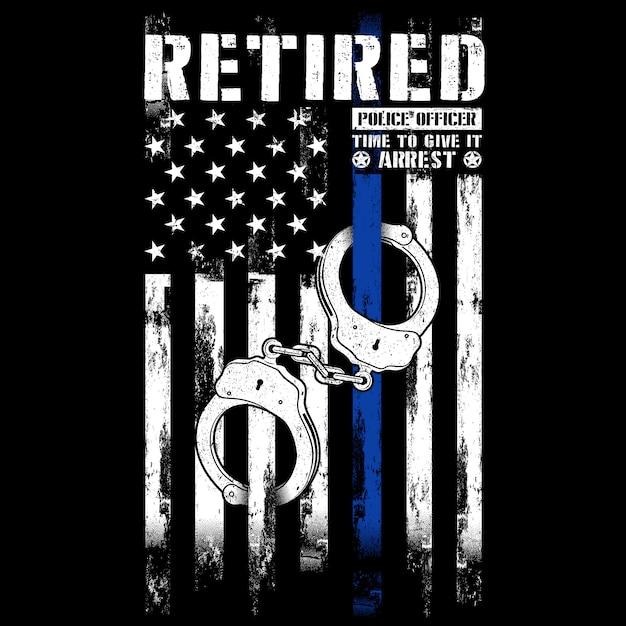 Oficial de polícia aposentado, punhos, fina linha azul Vetor Premium