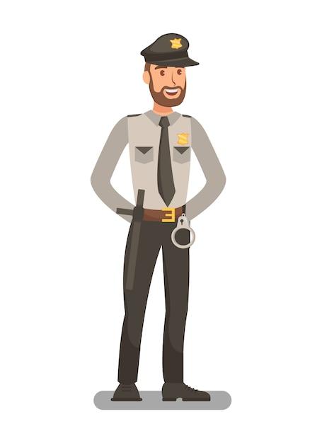 Oficial de polícia em uniforme Vetor Premium