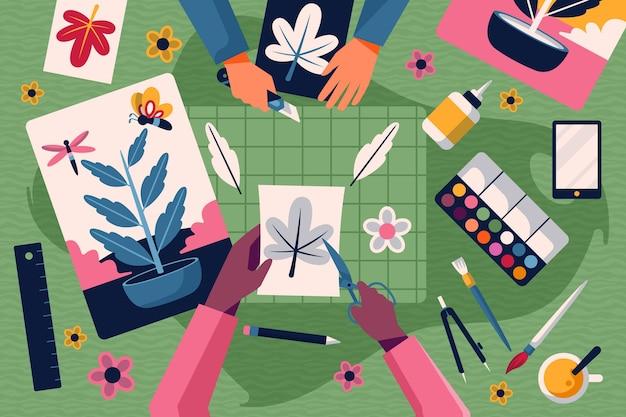 Oficina criativa diy Vetor grátis