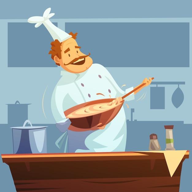 Oficina de culinária com o chef misturando ingredientes em uma tigela Vetor grátis