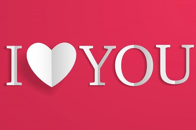 Ofício de papel criativo branco coração e letras eu te amo no vermelho Vetor Premium