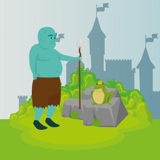 Ogro com lança no conto de fadas de cena Vetor grátis