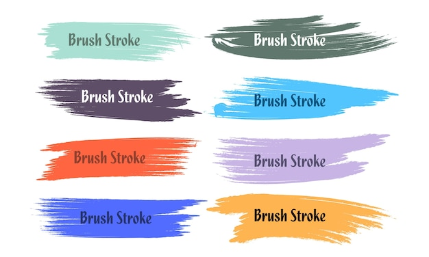 Oito conjunto de pinceladas coloridas abstratas de grunge Vetor grátis