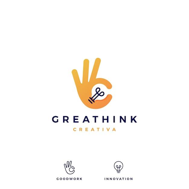 Ok mão gesto bulbo ideia logo vector icon ilustração Vetor Premium