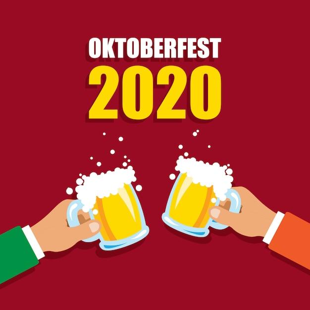 Oktoberfest 2020. felicidades, canecas de cerveja. férias de outono. ilustração vetorial isolada Vetor Premium