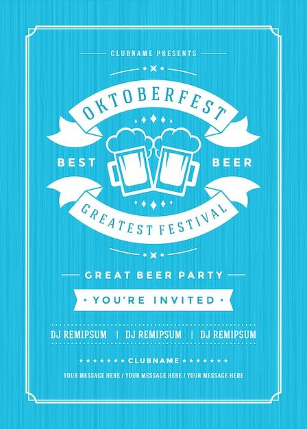 Oktoberfest cerveja festival celebração retro tipografia poster Vetor Premium